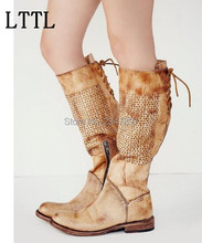 Retro style rome gladiator women boots lace up knot knee high low heeled celebrity shoes women drop shipping