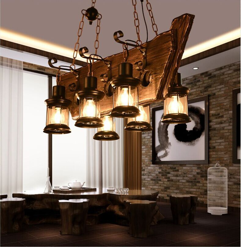 Loft Retro Bar Industrial American Country Solid Wood Pendant lamp Creative Personality wooden lamp for dining room A158 retro style living room lamp creative american country floor light solid wood floor lamp three foot