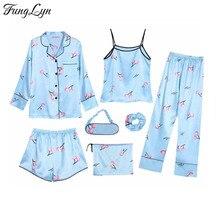 FL046C 7 Pic Silk Pajamas Satin Night Suit Pijama Mujer Pizama Damska Pyjama Pajama Set Pijamas Kigurumi