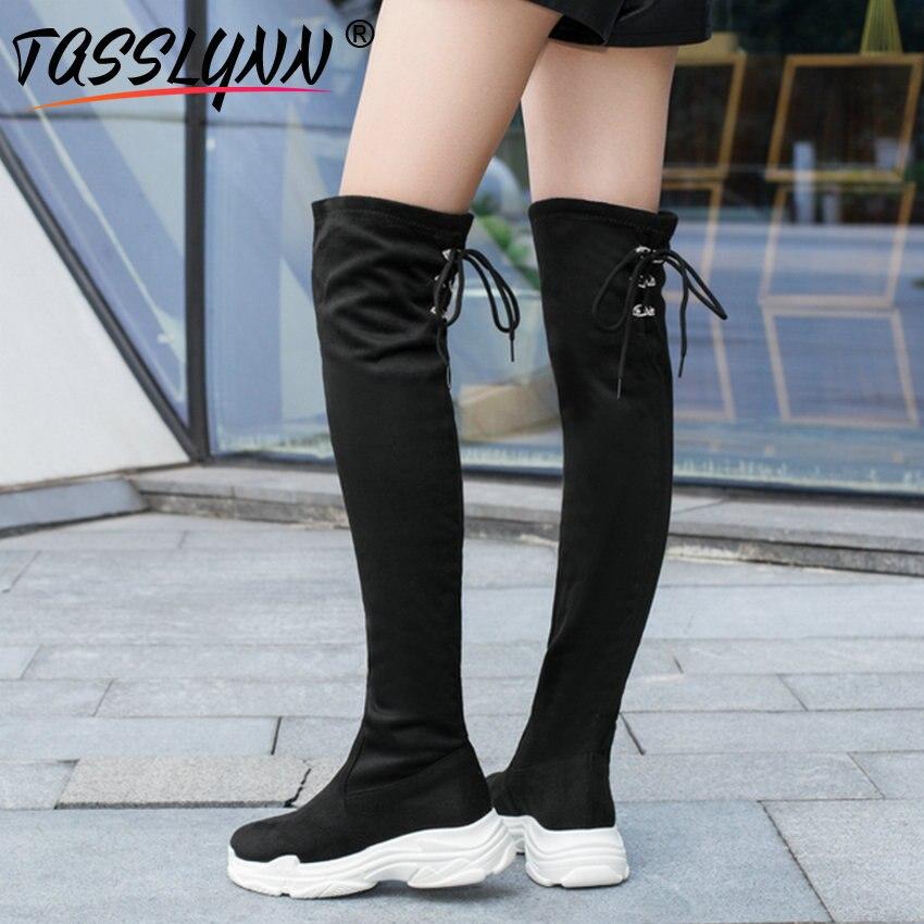 TASSLYNN 2019 Women Boots Warm short Plush over the knee Boots Med Heel Winter Shoes Round