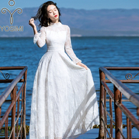YOSIMI 2018 Summer Vestidos Maxi Lace Evening Party Long Women Dress Beach Stand Neck Female Long Sleeve White Vintage Dresses