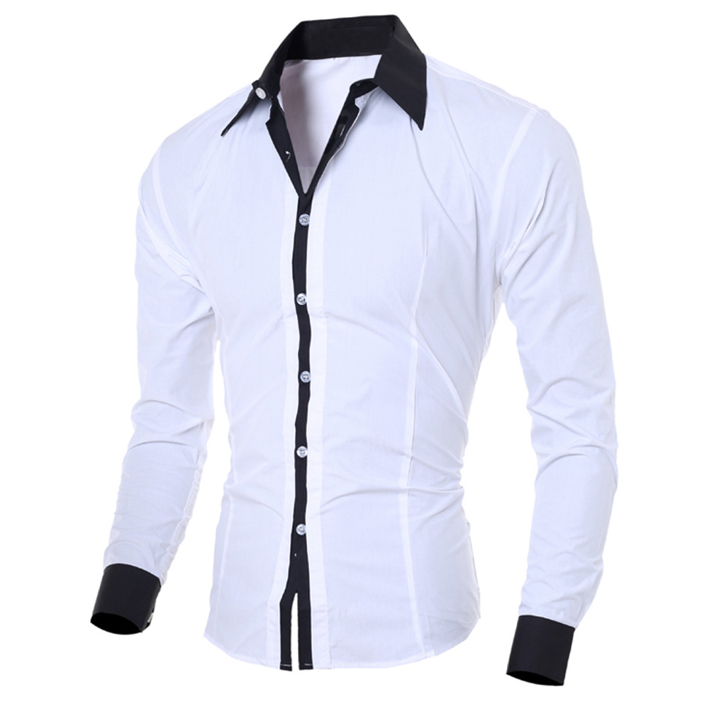 Male Social Shirt Fashion Personality Men's Casual Slim Long-sleeved Shirt Top Blouse Men Shirt Long Sleeve Shirt Men Casual