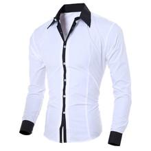 Męska koszulka socjalna moda osobowość męska Casual Slim koszula z długimi rękawami bluzka koszula męska z długim rękawem koszula męska Casual tanie tanio JAYCOSIN Koszule Pełna Poliester Suknem Stałe Pojedyncze piersi Skręcić w dół kołnierz Na co dzień REGULAR Men Shirts
