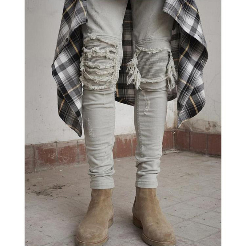 European and American Mens High Street Destroyed Fold Wrinkled All-match Trendsetter Slim Pants Biker Jeans