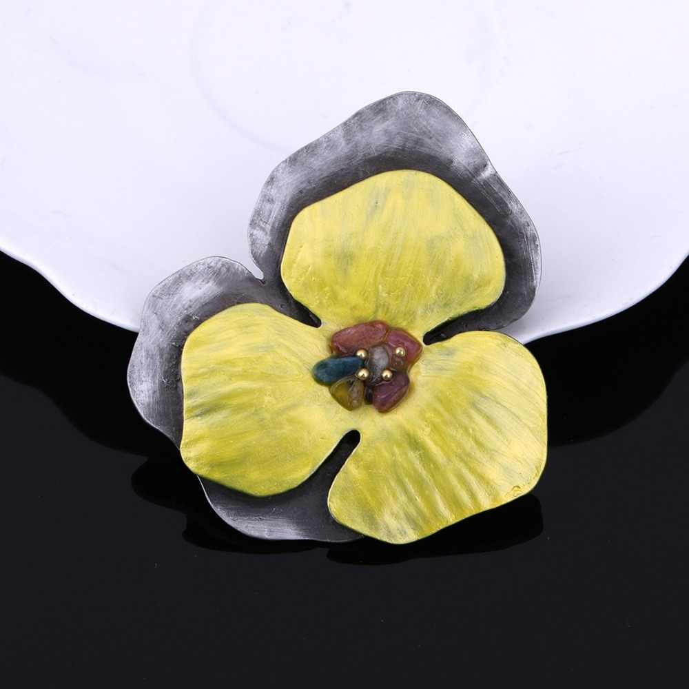JUJIE Vintage Enamel Yellow Flower Brooches For Women 2019 Multicolor Stone Brooch Pins For Outerwear Plant Jewelry Dropshipping