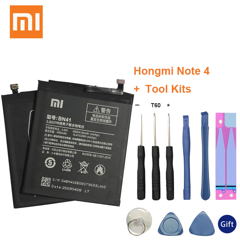 Xiao Mi Original Real 4100mAh BN41 Battery For Xiaomi Redmi Note 4 MTK Helio X20 / 4X Pro + Tool