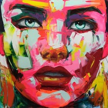 Nielly Francoise Art Work Hand-painted Oil Wall woman Face Women Home Decoration Modern Abstract Painting on Canvas