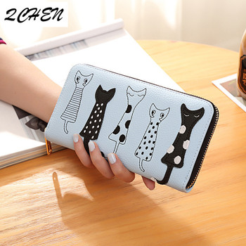 Women Cat Cartoon Wallet Luxury High Quality Creative Female Card Holder Casual Zip Ladies Clutch PU Leather Coin Purse 179Q 1