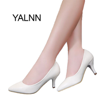 YALNN High Heel Women Shoes New Fashion 2016 women leather 7cm heel Black&White shoes for Office Lady