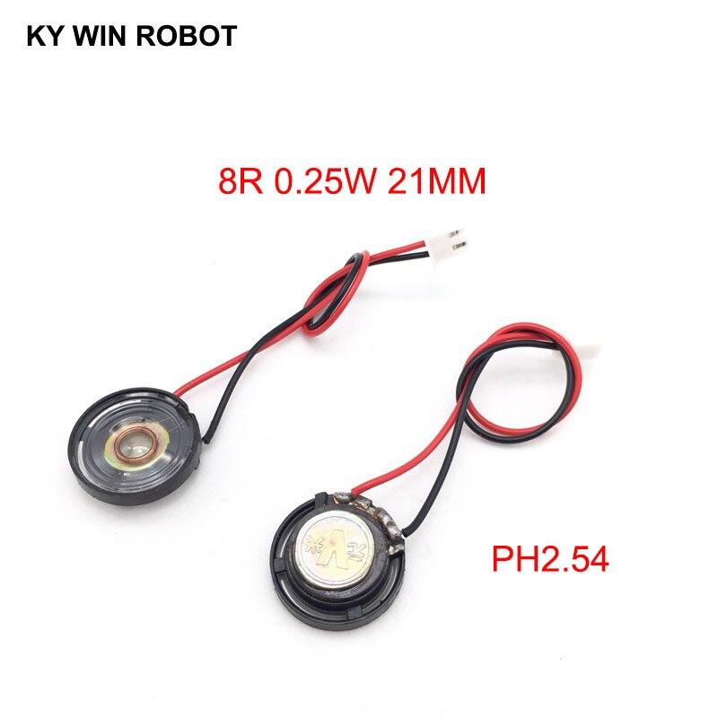 """מזגנים 2pcs / הרבה חדש דק צעצוע ברכב צופר 8 אוהם 0.25 ואט 0.25W 8R הדובר קוטר 21mm 2.1CM עם 10 ס""""מ אורך החוט מסוף PH2.54 (1)"""