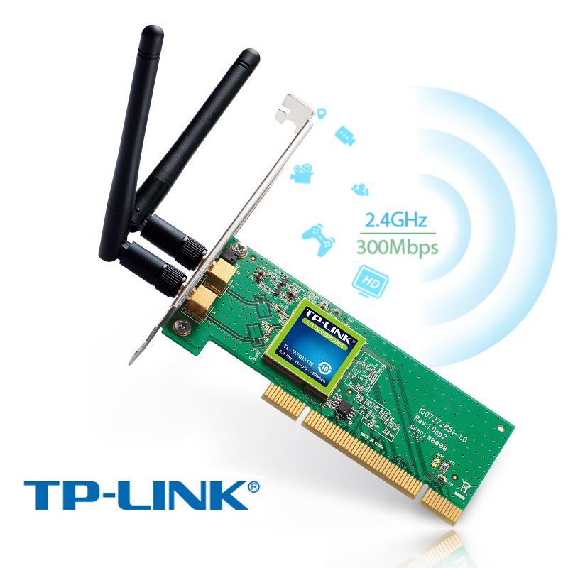 TP-LINK TL-WN851N PCI 11n 802.11b/g/n 300Mbps 300M WiFi Wireless Card Lan Network Two Detachable High Gain Antennas Wifi Adapter 300mbps wireless wifi adapter 2db antenna lan network card mini usb wifi receiver 802 11n b g high speed wifi adaptador