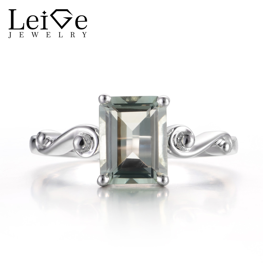 Leige Jewelry Natural Green Amethyst Rings Anniversary Rings Emerald Cut Gemstone 925 Sterling Silver Fine Jewelry