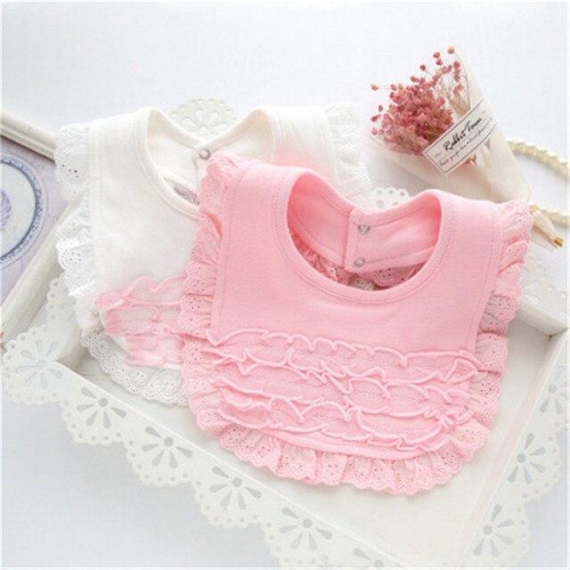 ideacherry Baby Bibs Burp 100% Cotton Lace Bow Pink White Bibs Baby Girl Lovely Cute Bib Infant Princess Waterproof Saliva Towel