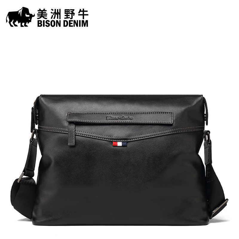 цены BISON DENIM Brand Handbag Genuine Leather Men Messenger Bag Casual Business Briefcase Crossbody Bag Men's Shoulder Bags