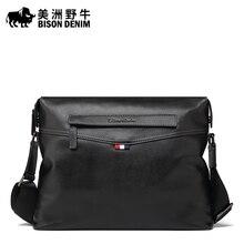 BISON DENIM Marke Handtasche Echtes Leder Umhängetasche Casual Business Aktentasche Crossbody Tasche herren Umhängetaschen