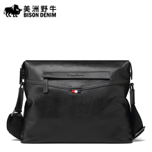 BISON DENIM Brand Handbag Genuine Leather font b Men b font Messenger font b Bag b