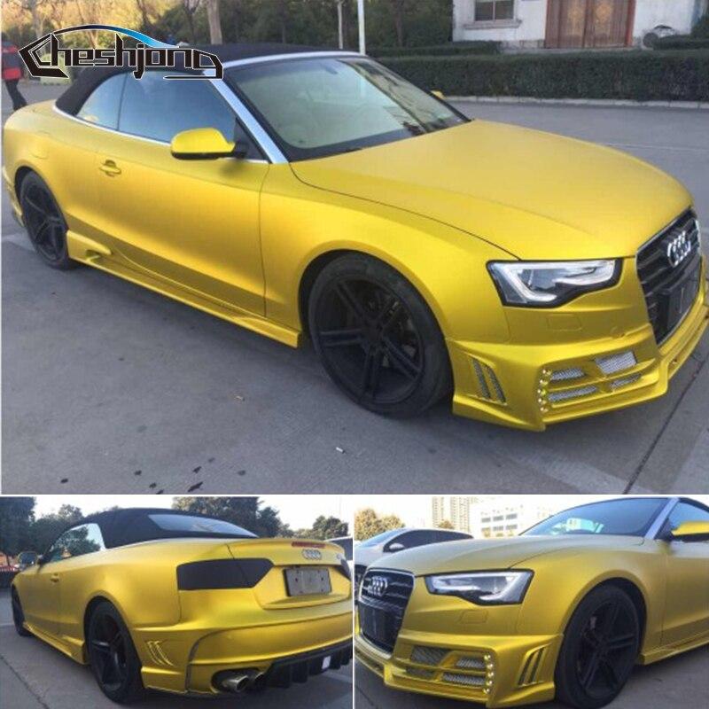 Premium Golden Satin Matte Chrome Full Car Wrap Sticker Matt Metallic Car Wrapping Foil PVC Car Color Change 1.52*20m/roll