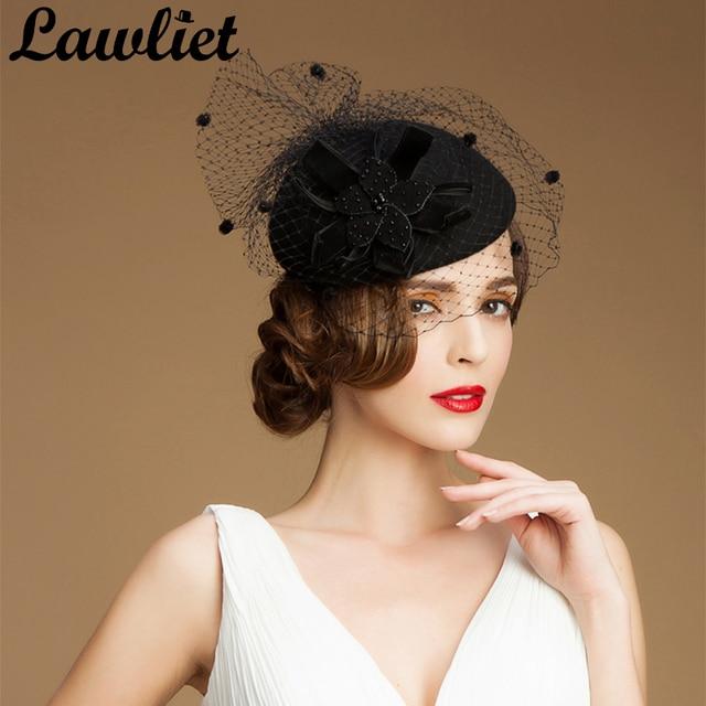 5acaaa77894 Black Fascinator hats for Wedding Church Ladies Vintage Style Wool  Fascinators Pillbox Hat Cocktail Cheltenham Fesitval Fedoras