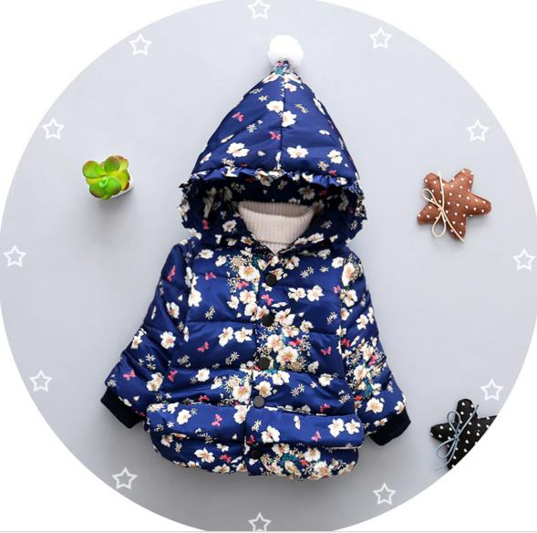 2017 New cheapest 0-24month high quality baby girl's winter snow wear infant cute hoodies JF009