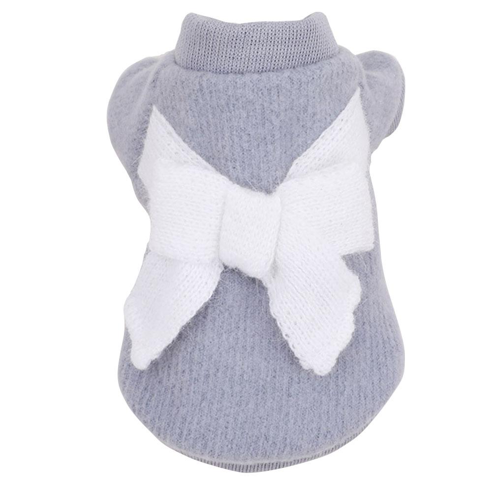 Вязаный свитер костюм свитер для кота с бантом 3 цвета пальто щенок Милая Одежда для собак ropa para perro - Цвет: 3