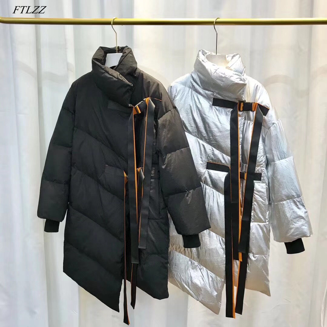 FTLZZ Winter White Duck Down Jacket 2018 Women Turtleneck Collar Silver Black Long Coat Parkas Female Thickening Warm Clothes