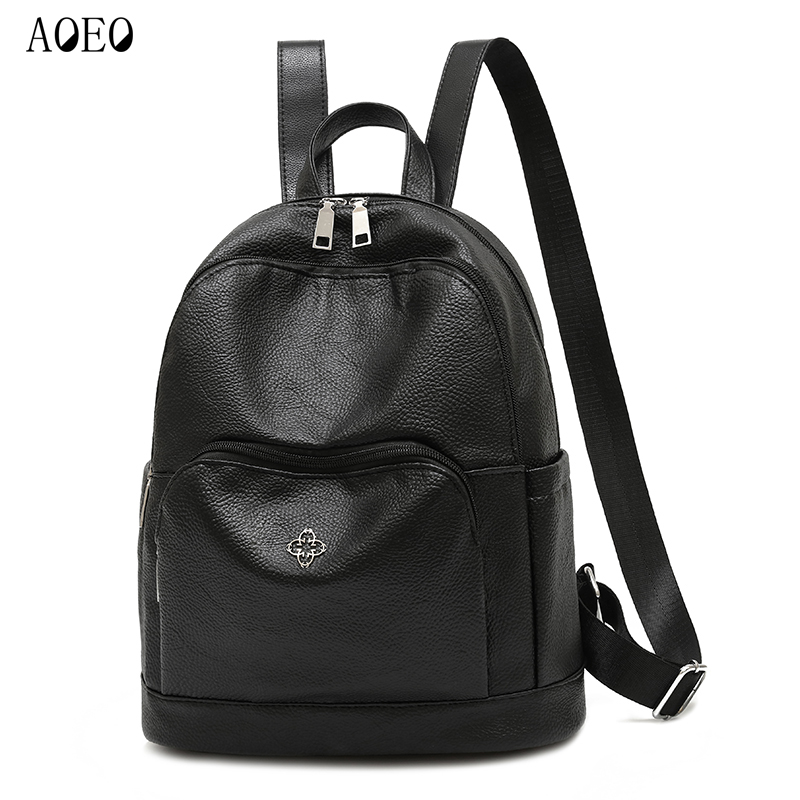 Aoeo Travel Backpack Women Pu Leather With Anti Theft Small Pocket Waterproof School Bags For Girls Mini Small Backpack Female #3