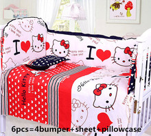 Promotion! 6PCS Cartoon Baby bedding kit bed sheets bed around beautiful bedding bumper sets (bumper+sheet+pillow cover)