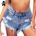 Achiewell Summer Fashion Women Jeans Shorts Punk Rock Silver Diamonds Rivet Ripped Tumblr Hot Denim Shorts Bottoms