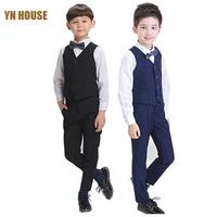 2016 Big Boys Vest Clothing Set Children Boys Small Vest Leisure Clothes Kids Wedding Prom Suits