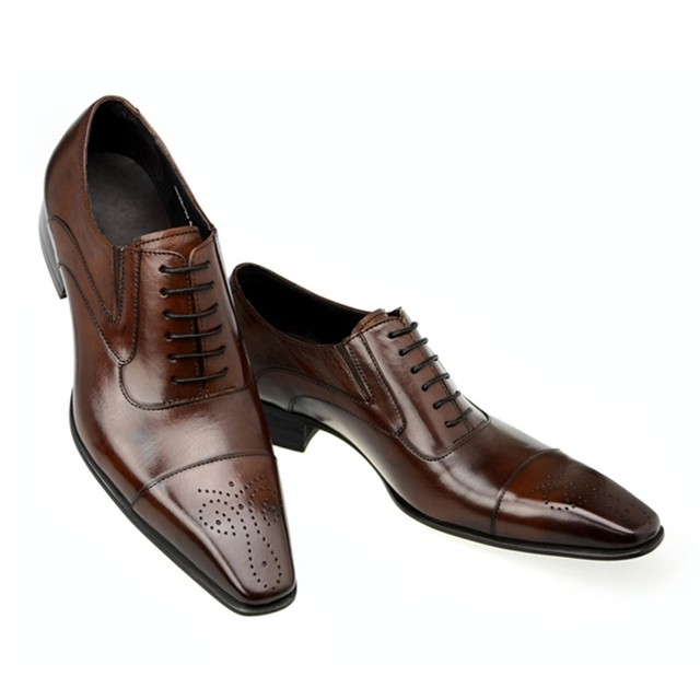 0d2fe40f43e088 Top qualité hommes bout carré derbies richelieus en cuir véritable italien  hommes robe chaussures d'