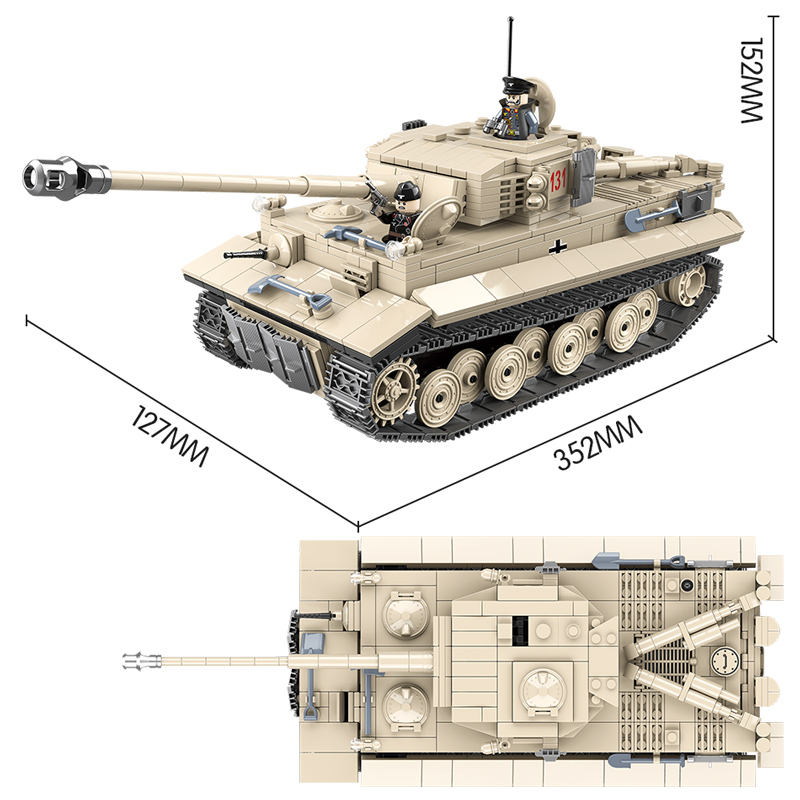 1018 pièces réservoir militaire WW2 blocs de construction compatibles avec la ville Jedi réservoir tigre 131 briques combattant armes jouets pour garçons - 6