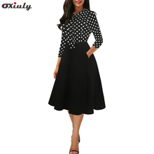 цена на Women 3/4 Sleeve Black Red Polka Dot Patchwork Dresses Ladies Bow Tie Pocket Female Party Fit and Flare A-line Dress Vestidos