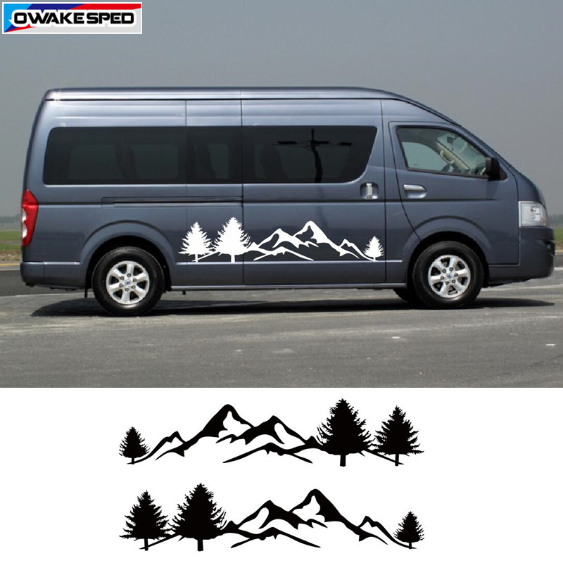 Mountain Tree Graphics RV Car <font><b>Sticker</b></font> <font><b>Motorhome</b></font> Minivan Styling <font><b>Stickers</b></font> Auto Body Customized <font><b>Decal</b></font> Door Side Accessories image