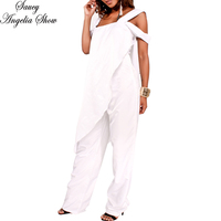 SAUCY ANGELIA Rompers Womens Jumpsuit Sexy White Chiffon Zip Irregular Shawl Bodysuits Side Cape Party Overalls Femme Playsuits
