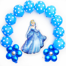 13pcs/set foil balloons flower mixed princess Cinderella balloon latex globe for birthday party decoration