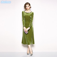 Autumn Winter Velvet Dress Women 2018 New Vintage Green Elegant Sexy Slim Female Vestidos Evening Party Christmas Dresses