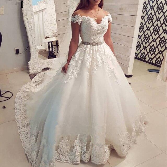 المملكة العربية السعودية قبالة الكتف خمر الدانتيل فستان الزفاف 2020 الكرة ثوب الحبيب فستان عروس Vestido De Noiva تول ثوب زفاف