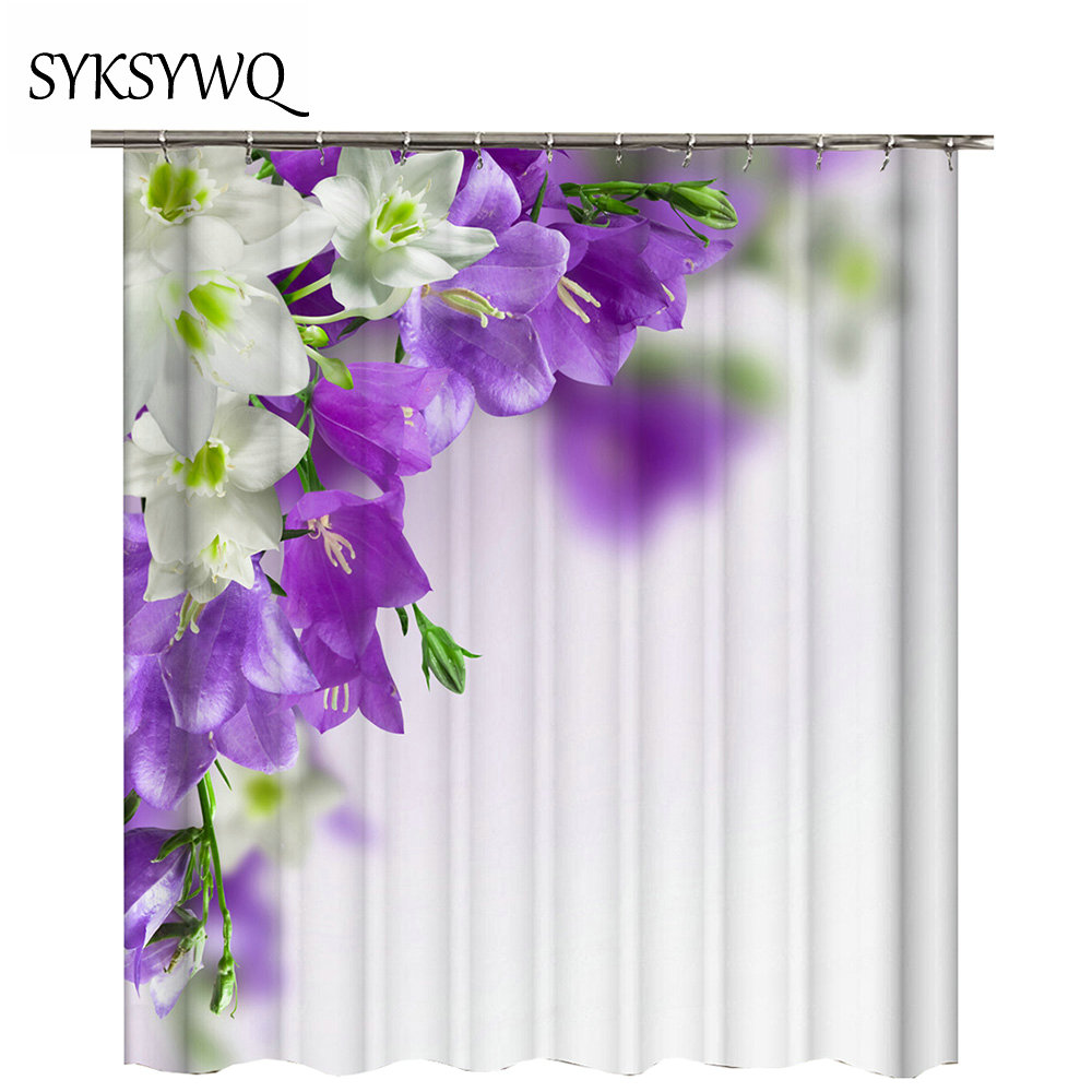 Purple Flower Shower Curtain Magnolia Wholesale Drop Shipping Waterproof Candle Light Bath In Curtains From Home Garden On Aliexpress