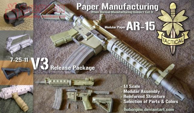1:1 fusil d'assaut M16 haute Simulation peut contenir un modèle de papier 3D bricolage modèle de papier fait à la main