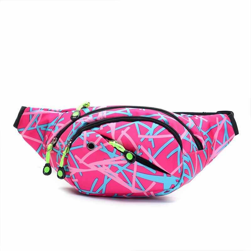 プリントウエストバッグ女性ベルトヘッドセット屋外防水胸ハンドバッグユニセックスファニーパック LadiesPack ベリー市ウォーキングパッケージ
