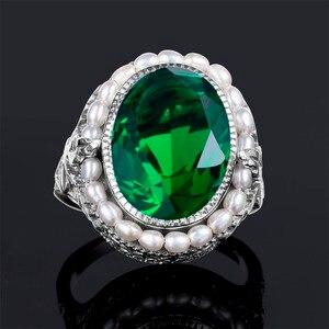 Image 5 - Szjinao anel de prata 925 simples pérola natural pedra preciosa anéis para mulher esmeralda pedra verde rendas vintage noivado sieraden