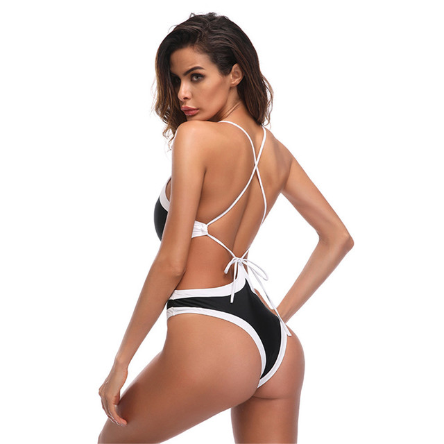 2bb4c17132 2018 Sexy White High Cut Leg Thong One Piece Swimsuit Backless Swim Suit  For Women Swimwear