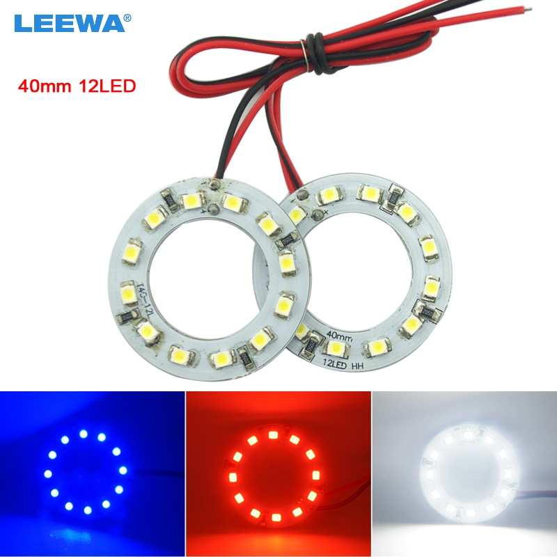 LEEWA 2pcs 40mm Car Angel Eyes 1210/3528 12SMD LED Headlight Halo Ring Angel Eye Lighting White Red Blue  #CA2666