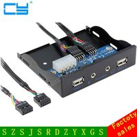 New 3.5'' 2 USB 2.0 Port HUB + HD Audio Output Floppy Drive Expansion Front Panel
