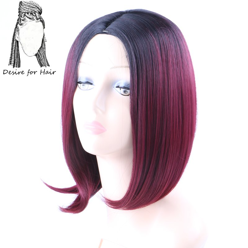 Desire for hair 12inch Bob wig heat resistant synthetic wigs for woman ombre black burgundy light grey color