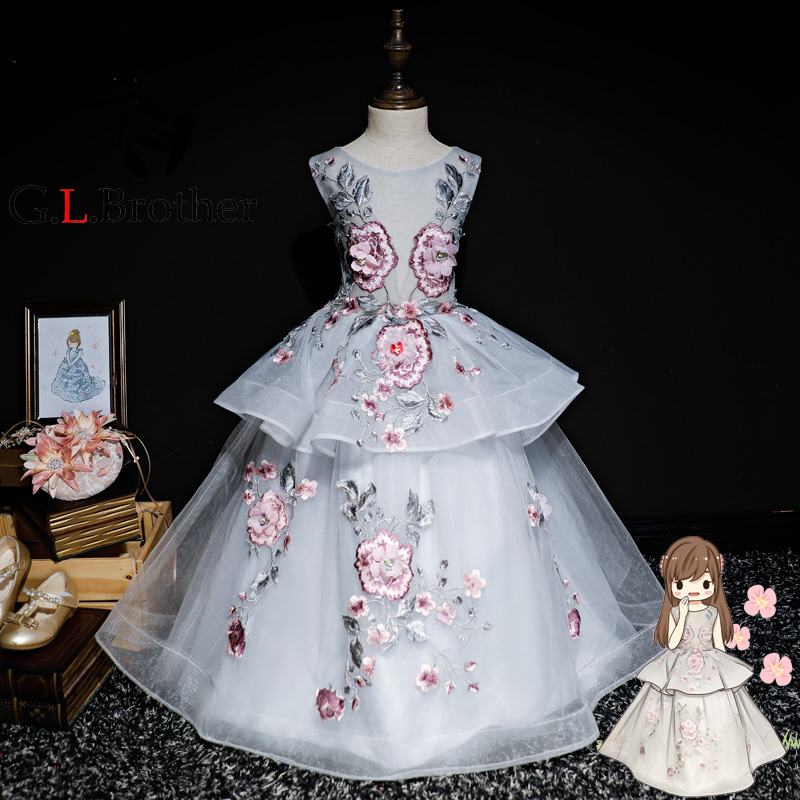 Luxury Embroidery Holy Communion Dress Lace Up Layered Flower Girl Dresses For Wedding Ball Gown Princess Evening Prom Dress