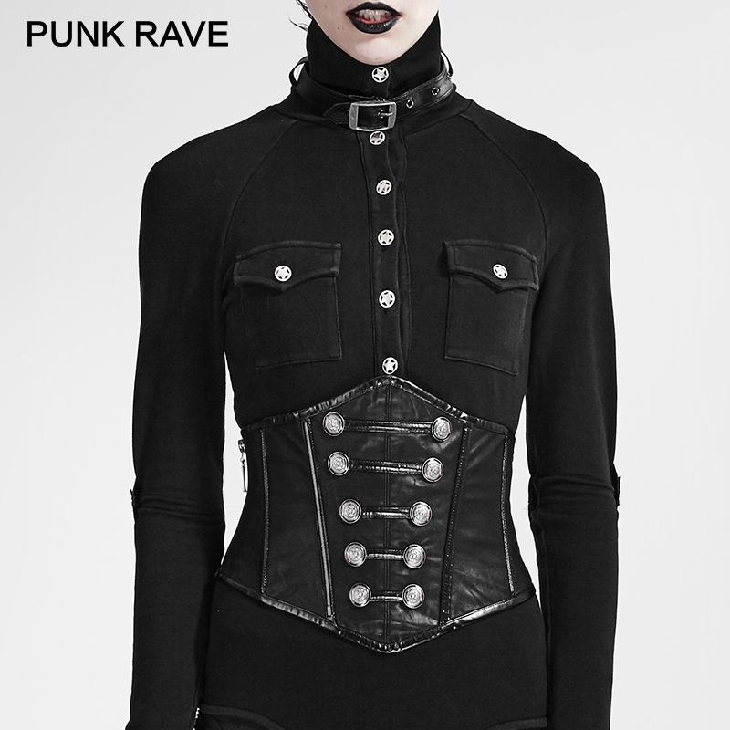 US $80 99 |PUNK RAVE Steampunk Convenient To Wear Off Military Uniform  Buttons and Zipper Modeling Sexy PU Leather Girdle Punk Rock Women-in  Women's