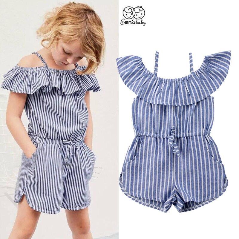 Mother & Kids Symbol Of The Brand 2018 Retro Baby Girl Newborn Bodysuit Clothes Striped Print Off Shoulder Jumpsuit Headband Sleeveless Summer Ruffles Bodysuit