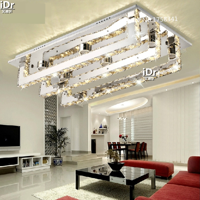 Contemporary LED Crystal Ceiling Lights Rectangular Living Room Creative Bedroom Lamp Restaurant Luxury