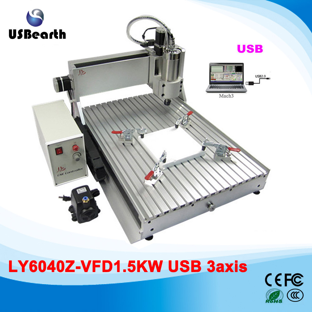 Wood carving machine cnc 6040 USB 3 axis cnc router with 1.5kw spindle motor cnc 5axis a aixs rotary axis t chuck type for cnc router cnc milling machine best quality